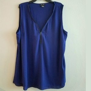 22 City Chic XL Plus Size Blue Sleeveless Top
